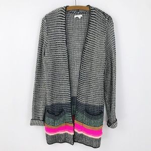 Maurices Cardigan Sweater Black White Pink Stripe